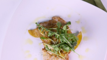 Almond Crusted Scallopini with Apples & Arugula Recipe by Mario Batali - The Chew