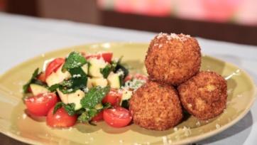 Arancini with Tomato Zucchini Salad