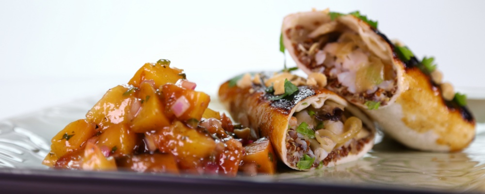 Asian Enchilada with Grilled Peach Salsa