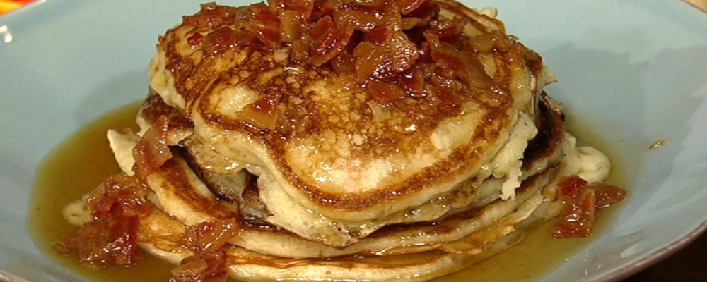 Bacon Pancakes with Maple Bourbon Butter Sauce Recipe by Daphne Oz ...
