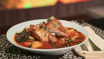 Braised Turkey Thighs with Spicy Kale
