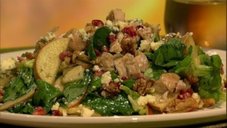 Butter Lettuce with Apple, Walnuts, Pomegranate Seeds and Chicken