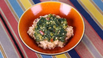 Caribbean Stewed Spinach with Rice & Beans