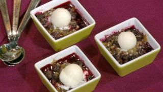 Carla Hall\'s Blueberry Almond Crisp with Frozen Lemon Yogurt