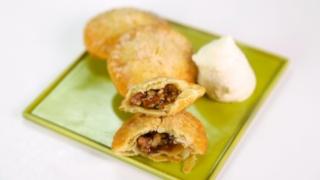 Carla Hall\'s Fried Pecan Pie with Bourbon Cream