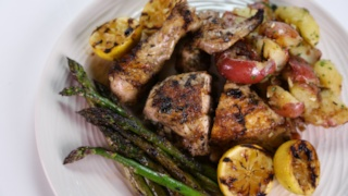 Carla Hall\'s Herb Chicken with Smash Potatoes and Grilled Asparagus