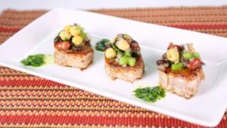 Carla Hall\'s Pork Tenderloin with Three Bean Salad