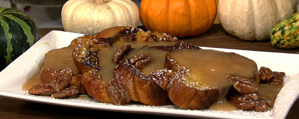 Carla Hall\'s Pumpkin French Toast with Apple Cider Syrup and Spiced Pecans