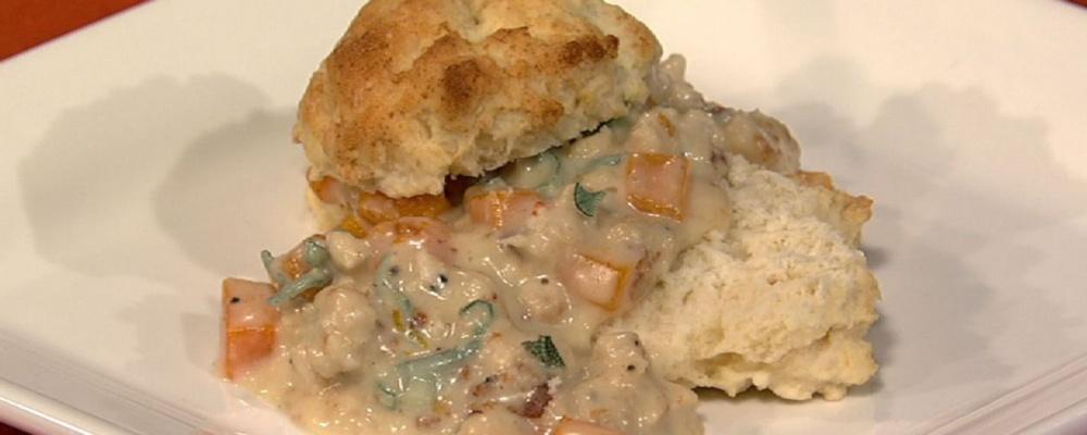 Carla Hall\'s Turkey Sausage and Butternut Squash Gravy with Sage