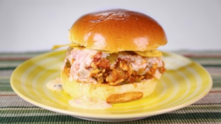 Chicken Sloppy Joes with White Cheddar Fondue and Roasted Tomatoes