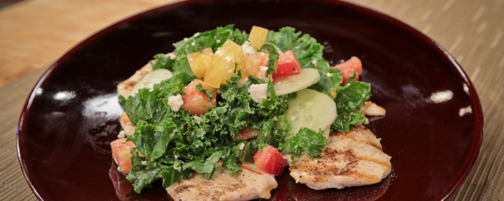 Chicken with Kale, Cucumber and Tomato Feta Salad