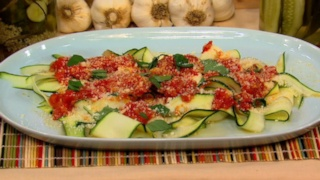 Clinton and Carla\'s Fresh Tomato Sauce with Zucchini Papardelle