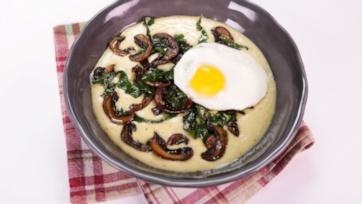Corn Pudding with Collards & Mushrooms