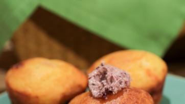 Cornmeal Muffins with Feta, Calamata Olives and Tomato Jam