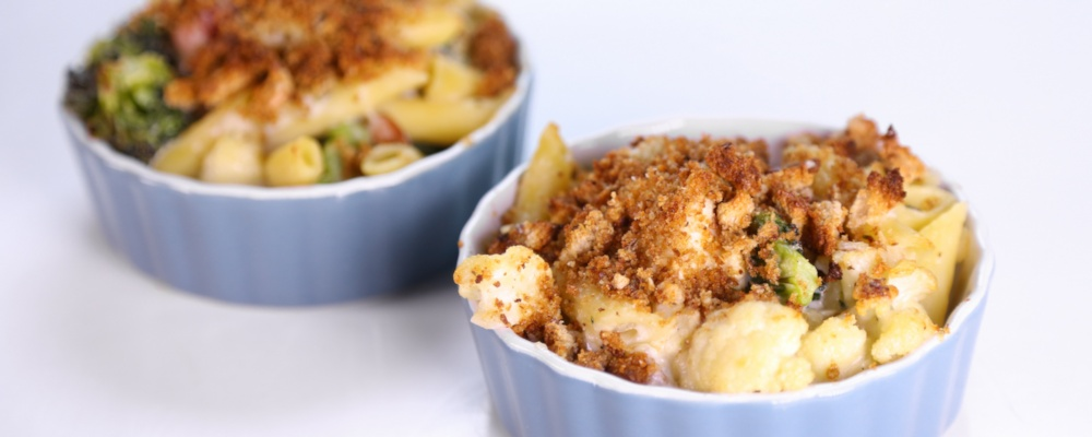 Curtis Stone\'s Roasted Cauliflower, Broccoli, and Pasta Bake with White Cheddar
