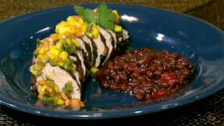 Debbie Reid\'s Cocoa Spiced Pork Tenderloin with Sweet and Spicy Salsa