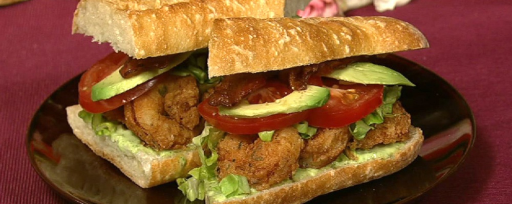 Emeril Lagasse\'s Fried Shrimp Po\' Boy with Jalapeno Mayonnaise and Avocado