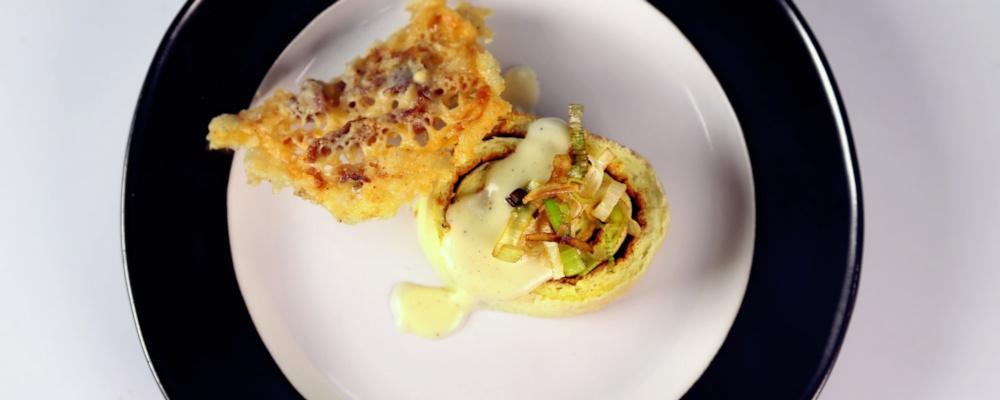 Fallen Leek Soufflé with Parmesan & Prosciutto Fondue