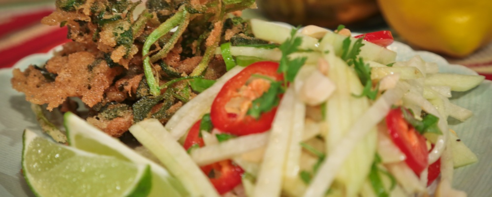 Green Papaya Salad with Deep Fried Watercress