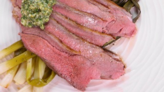 Grilled Butterflied Leg of Lamb with Mint Pesto