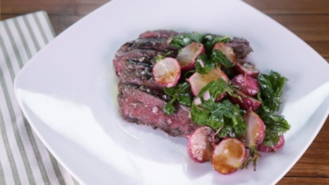 Grilled Flat Iron Steaks with White Anchovy Butter & Roasted Radish Salad