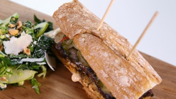 Grilled Lamb Sandwiches with Harissa Mayo and Pickled Vegetables