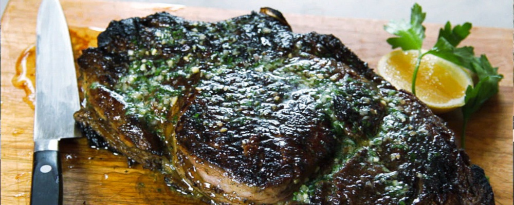 ... Devine: Recipe for Grilled Rib-eye steak with Parsley Garlic Butter