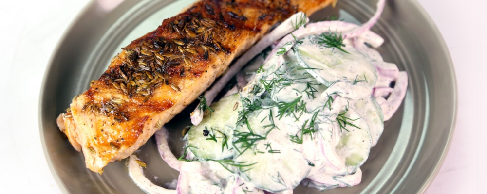 Grilled Salmon with Shaved Cucumbers and Dill