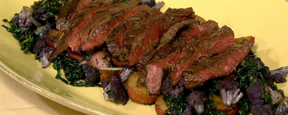 Grilled Skirt Steak with Cauliflower Hash Recipe by Michael Symon ...