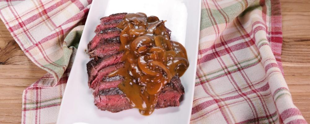 Grilled Skirt Steak with Mushroom Gravy Recipe by Michael Symon - The ...
