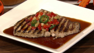 Grilled Swordfish with Deviled Peppers