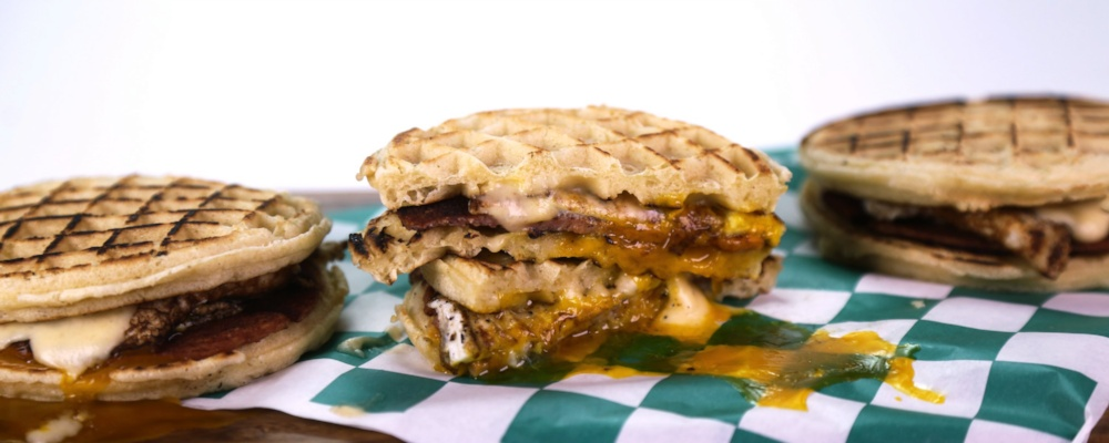 Ham, Egg and Cheese Waffle Sandwich Recipe by Mario Batali - The Chew