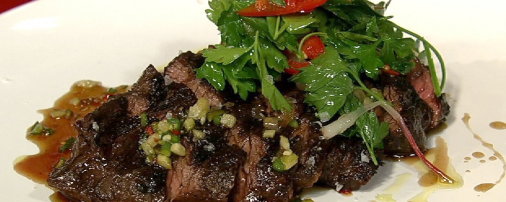 Hanger Steak with Pickled Vegetable Sauce