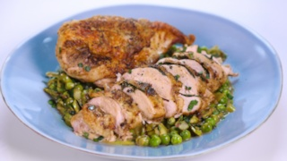 Herb Butter Chicken with Asparagus and Peas