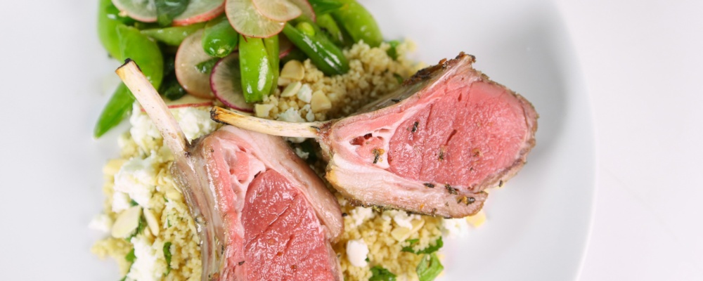 Herb Rubbed Rack of Baby Lamb Chops by Lisa Fontanesi