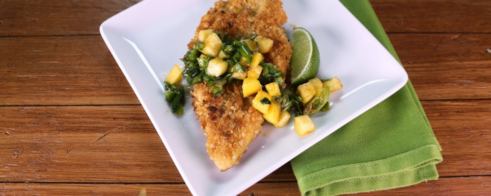 Macadamia Crusted Chicken with Mango-Citrus Salsa Recipe by Clinton ...