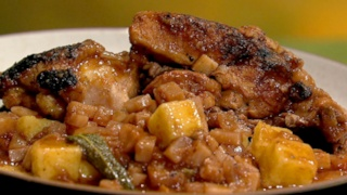 Mario Batali\'s Chicken and Polenta with Celery Root and Sage