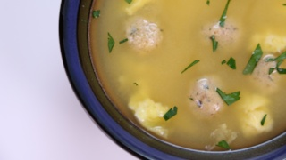 Mario Batali\'s Egg Drop Soup with Mini Matzoh Balls