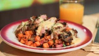 Mario Batali\'s Grilled Chicken Sweet Potato Hash with Japaleno Hollandaise