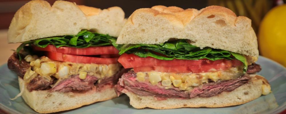 Mario Batali's Grilled Skirt Steak Sandwich with Charred Corn Mustard ...
