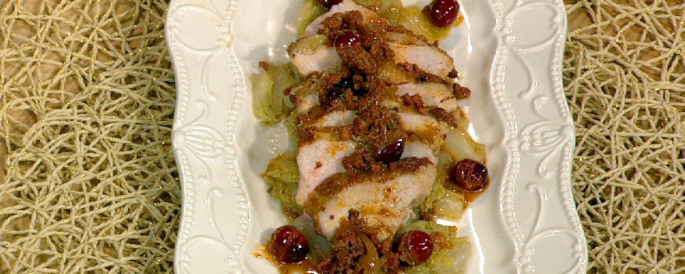 Mario Batali\'s Pheasant with Cabbage and Chorizo-Cranberry Sauce