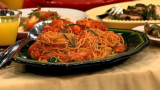 Mario Batali\'s Spaghetti Al\'Arrabbiata with Lobster and Flowering Chives
