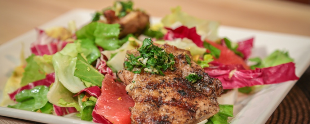 Michael Symon\'s Brick Chicken with Radicchio Salad