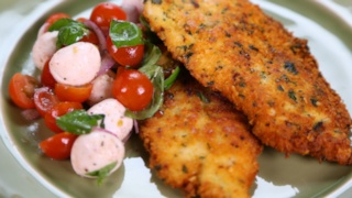 Michael Symon\'s Chicken Scallopini with Tomato Mozzarella Salad