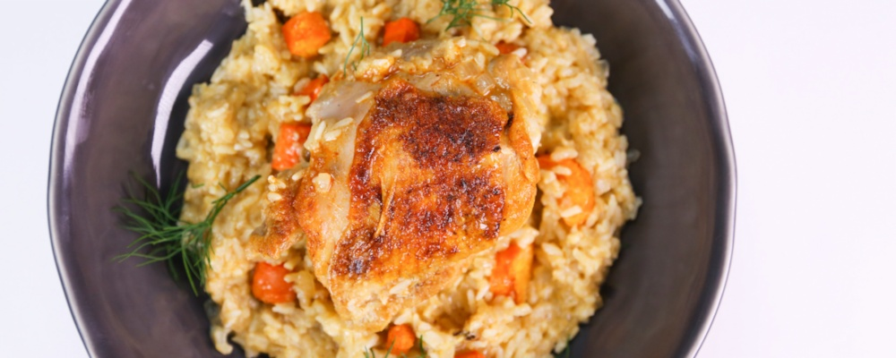 Michael Symon\'s Greek-Style Chicken and Rice