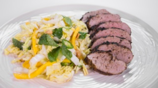 Michael Symon\'s Grilled Pork with Peanut Slaw