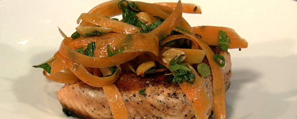 Michael Symon\'s Grilled Salmon with Shaved Carrot and Peanut Salad