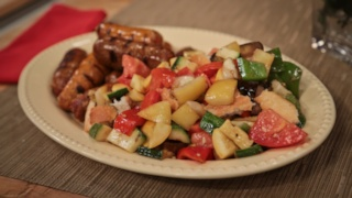 Michael Symon\'s Grilled Sausage and Vegetables
