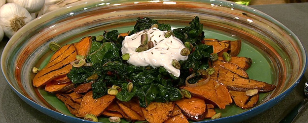 Michael Symon\'s Grilled Sweet Potatoes with Swiss Chard and Greek Vinaigrette