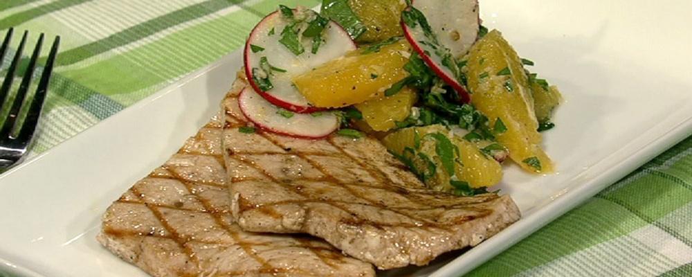 Michael Symon\'s Grilled Swordfish with Orange, Radishes and Horseradish